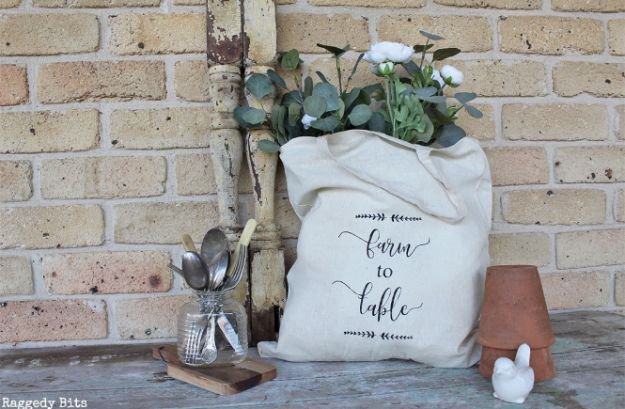 Magnolia Homes Gift Ideas - Stenciled Cotton Bag - DIY Home Decor Inspired by Chip and Joanna Gaines - Fixer Upper Gifts - Do It Yourself Decorating On A Budget With Farmhouse Style Decorations for the Home