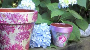 How to Decoupage These Weatherproof Clay Pots
