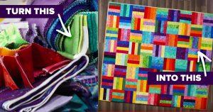 Colorful Fabric Scrap Quilt Tutorial