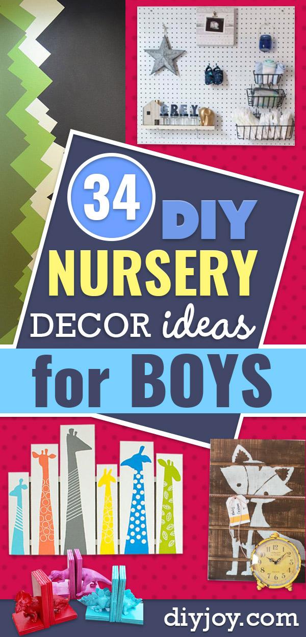DIY Nursery Decor Ideas for Boys - Cute Blue Room Decorations for Baby Boy- Crib Bedding, Changing Table, Organization Idea, Furniture and Easy Wall Art