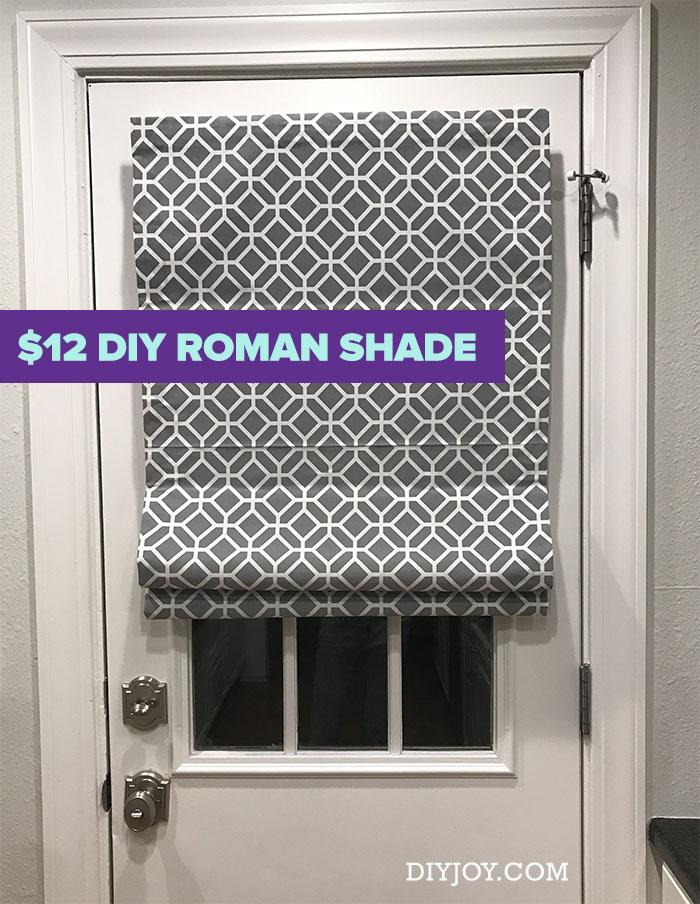 DIY Roman Shades - Cheap Home Decor Ideas - No Sew Roman Shade Made From Mini Blinds