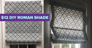 $12 DIY Roman Shade Made From A Mini Blind