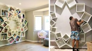 Parents Repurpose Shelves To Build This Bookcase Wall