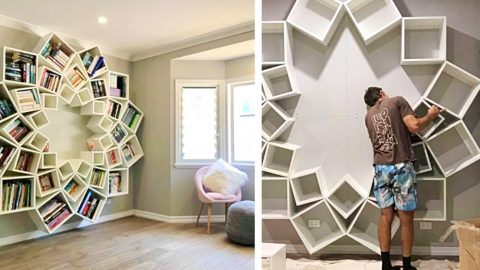 Parents Repurpose Shelves To Build This Bookcase Wall | DIY Joy Projects and Crafts Ideas