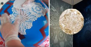 Glue and A Plastic Ball Are The Keys to Making This Creative Doily Pendant Light