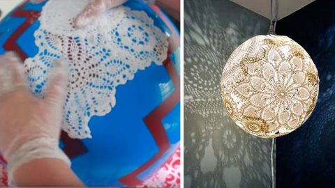 Glue and A Plastic Ball Are The Keys to Making This Creative Doily Pendant Light | DIY Joy Projects and Crafts Ideas