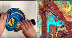 This Mesmerizing Infinity Paint Pouring Technique Makes Instant Wall Art