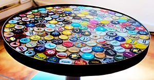 DIY Beer Bottle Cap Table