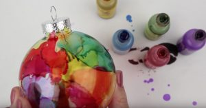 DIY Watercolor Effect On Glass Ornament