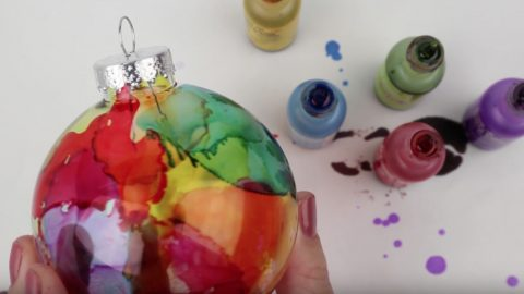 DIY Watercolor Effect On Glass Ornament   DIY Joy Projects and Crafts Ideas