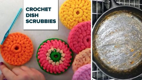Crocheted Tulle Dish Scrubby | DIY Joy Projects and Crafts Ideas