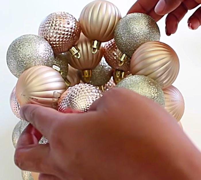 Make a cheap easy Dollar Tree mini Ornament Christmas Tree with a glue gun