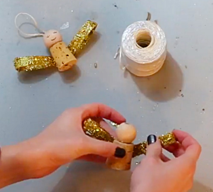 Learn this cheap kids DIY how to make a cork Christmas Angel