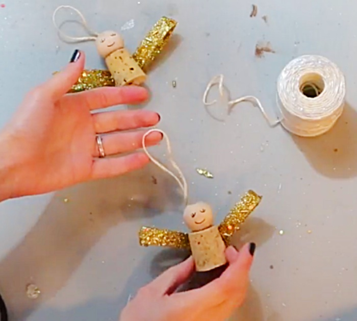Try this DIY Wine Cork Christmas angel with a Wine Cork and A hot glue gun