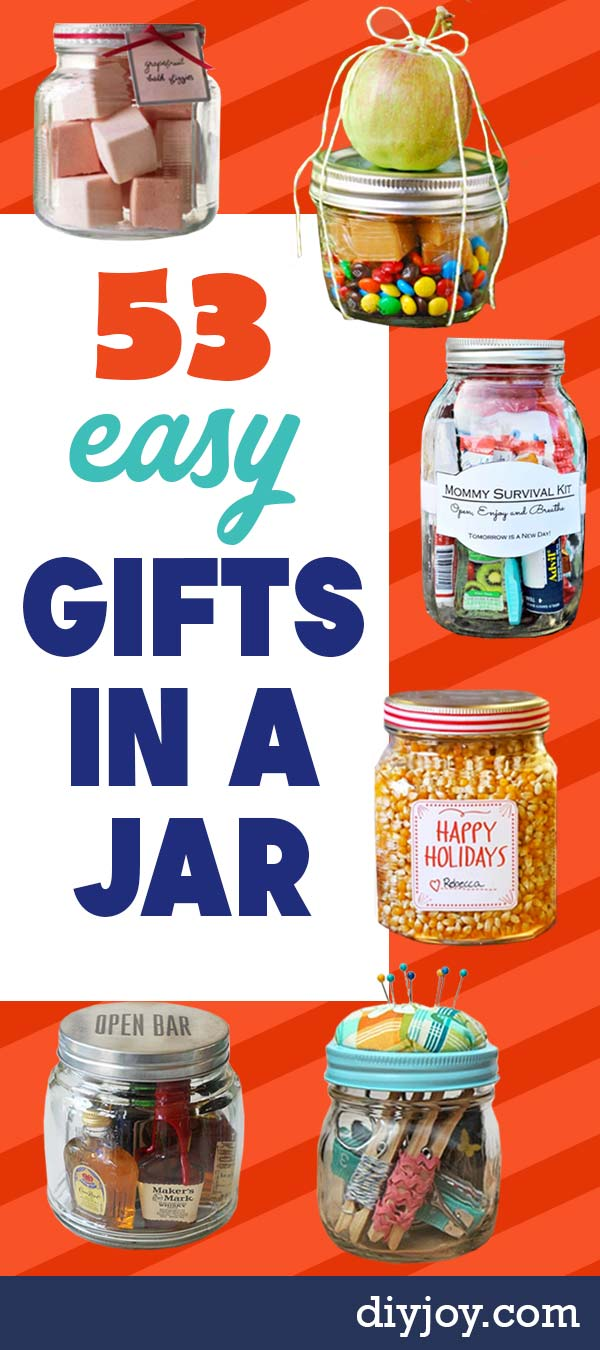 Gifts in A Jar - Easy Mason Jar Gifts - Easy and Cheap DIY Christmas Gifts - DIY Gift Idea for Neighbors, Friends and Family, Kids, Him or Her - Cheap Dollar Store Crafts With Mason Jars