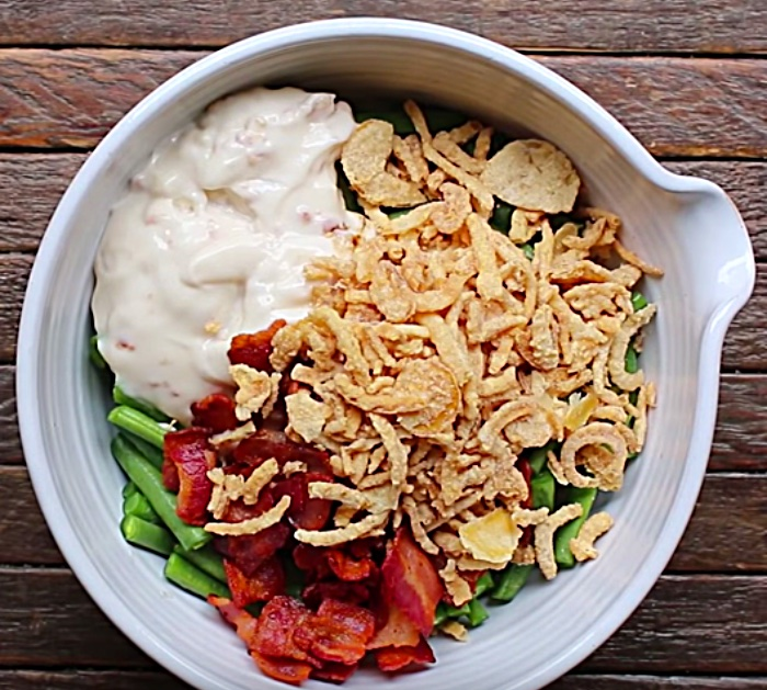 Make green bean and bacon casserole for Thanksgiving