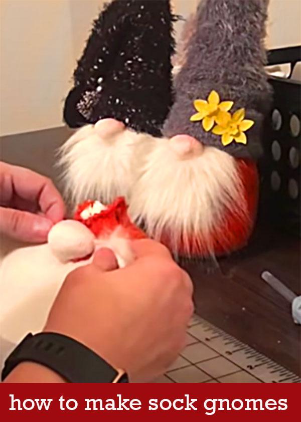 how to make sock gnomes - pinterest Christmas crafts - easy DIY holiday decor idea