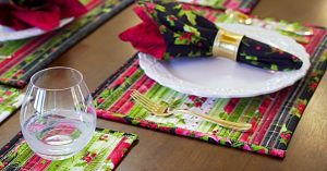 Jellyroll Quilted Christmas Placemats And Coasters