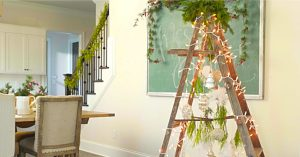 DIY Rustic Farmhouse Christmas Tree Using An Old Ladder