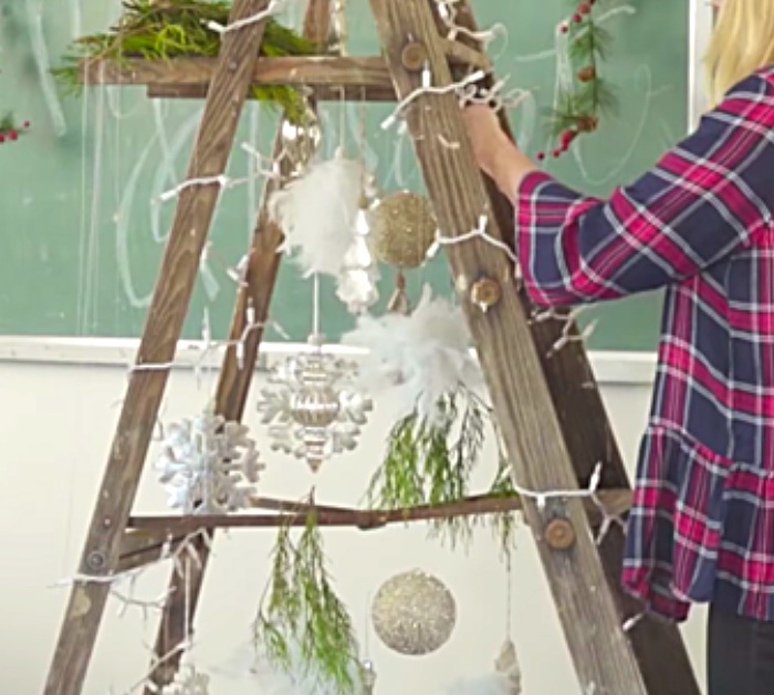 Make a cheap DIY Christmas Tree out of an old ladder and cheap decorations from the thrift store