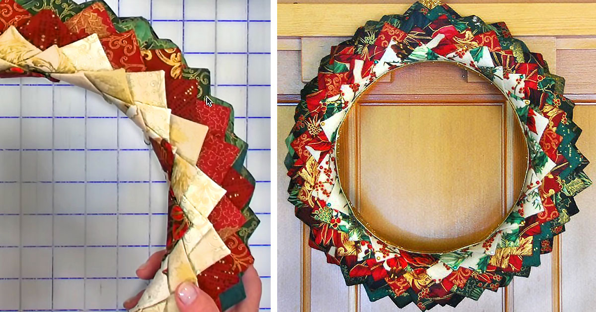 No Sew Quilted Christmas Wreath Tutorial