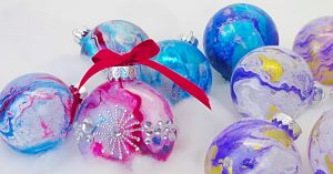 DIY Spray Paint On Water Transfer Ornaments