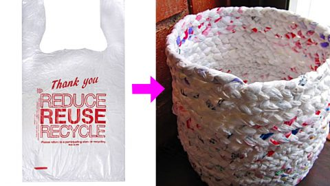 Weave This Trash Can From Plastic Grocery Bags | DIY Joy Projects and Crafts Ideas