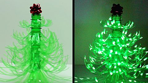 DIY Plastic Bottle Christmas Tree Luminary | DIY Joy Projects and Crafts Ideas