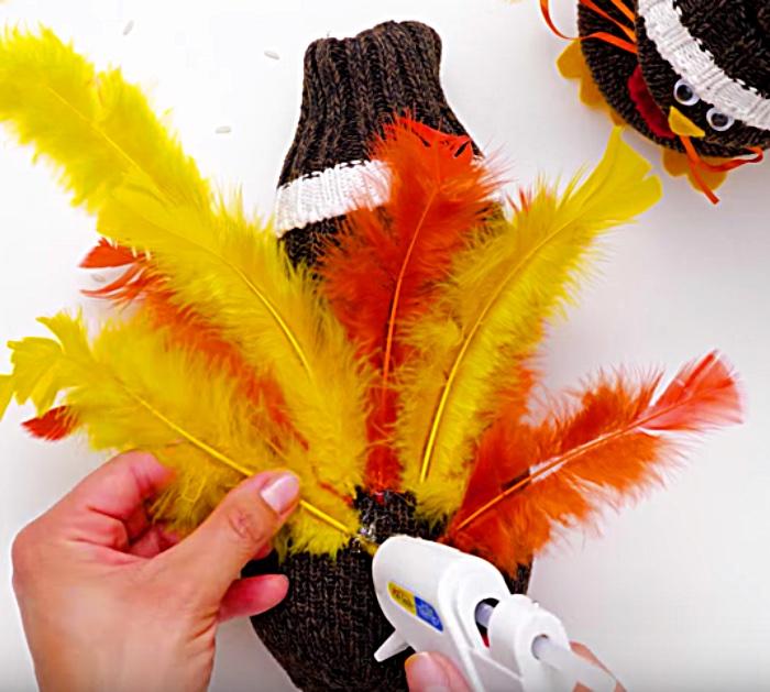 Teach children to make a Thankgsgiving sock turkey