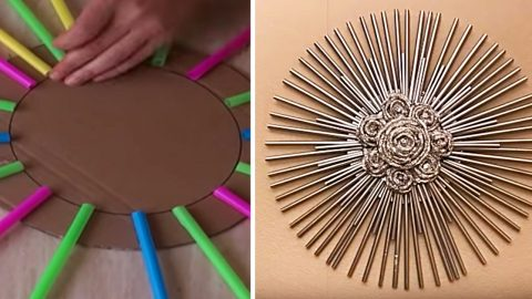 Learn To Make Foil And Straw Wall Art   DIY Joy Projects and Crafts Ideas