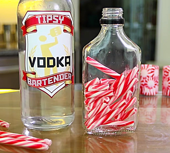 Learn to make candy cane infused vodka and candy cane shot glasses