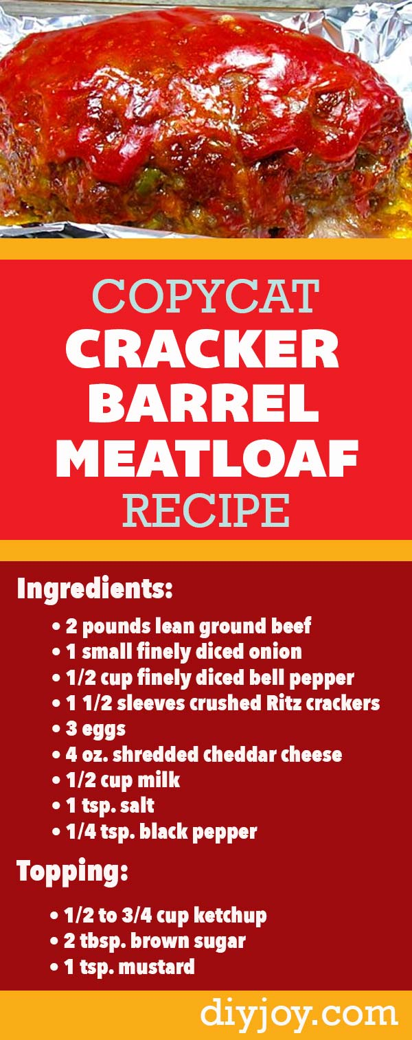 Easy Ground Beef Recipes - How to Make Cracker Barrel Meatloaf Recipe - Copycat Restaurant Recipe Ideas