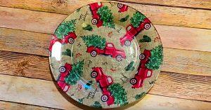 DIY Dollar Tree Decoupage Christmas Plate