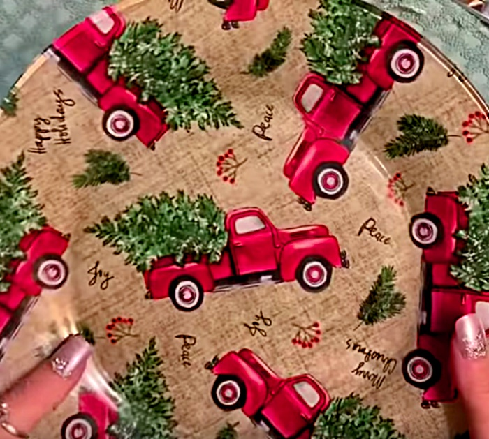 Make a DIY Decoupage Plate with Modpodge and fat quarter of Christmas Themed Fabric