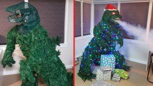 Dad Makes DIY Smoke Breathing Godzilla Christmas Tree