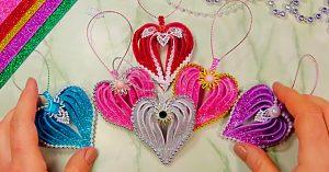 DIY Heart Shaped Glitter Foam Ornaments