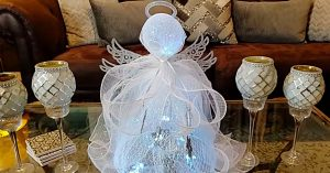 DIY Ribbon Mesh Angel Using A Trash Basket