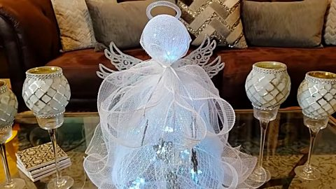 DIY Ribbon Mesh Angel Using A Trash Basket | DIY Joy Projects and Crafts Ideas