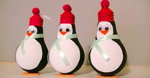 DIY Penguin Light Bulb Ornament