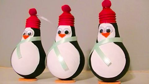 DIY Penguin Light Bulb Ornament   DIY Joy Projects and Crafts Ideas