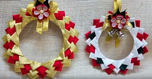 DIY Satin Wreath Ornaments Using Polystyrene Plates