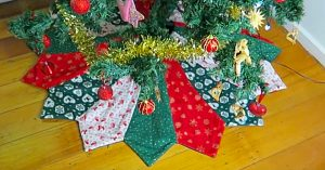 Quilted Dresden Pattern Christmas Tree Skirt