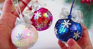 DIY Sequined Christmas Ornaments