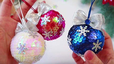 DIY Sequined Christmas Ornaments   DIY Joy Projects and Crafts Ideas