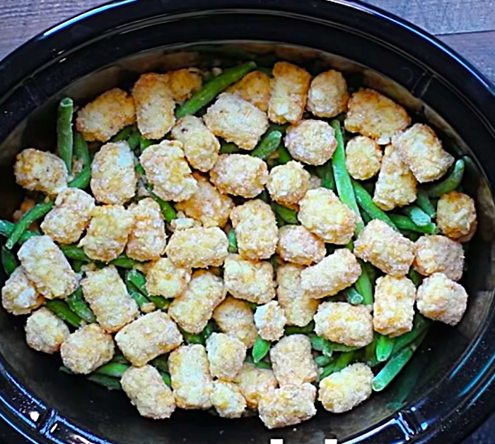 Make this crockpot Tater Tot casserole with green beans