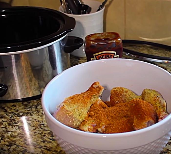 quick easy Bar BQ Chicken legs in a Crockpot slow cooker