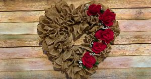 DIY Burlap Ruffled Heart Wreath