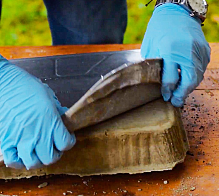 Learn to make a DIY cement boot brush mat for the doorway