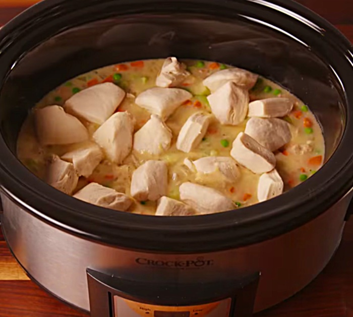Try making Chicken and Dumplings with canned biscuits in the crockpot slow cooker