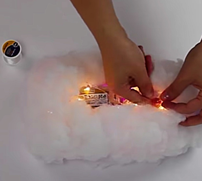 Try making these fantastic quick cheap easy DIY Cloud Hanging Cloud Lights